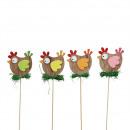 Speedy wooden chicken to stick, 4 colors, H7cm, gr